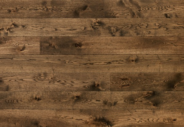 Gutsboden Wildeiche glatt maschinengehobelt ungekittet gealtert angeräuchert antikbraun geölt - 99055